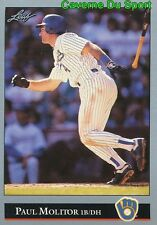 238   PAUL MOLITOR    MILWAUKEE BREWERS  BASEBALL CARD LEAF 1992
