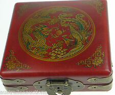 Feng Shui Compass in Dragon and Phoenix Wood & Leather Box with Metal Clasps