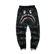 Men's A BATHING APE SPACE CAMO SHARK SWEAT PANTS TROUSERS Glow in the Dark