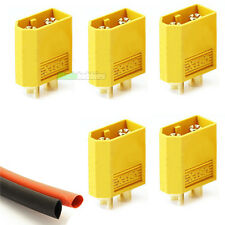5 xMale XT60 Lipo Battery Connectors & Heat-Shrink RC Plane Helicopter Quad