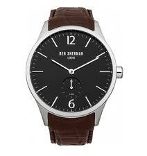 Ben Sherman Minimal Black Dial Men's Watch with Brown Croc Leather Strap RRP £85