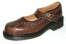 DR. DOC MARTENS ENGLAND BROWN LEATHER MARY JANE LOAFERS UK 6 US 8 WORN ONCE **