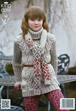 KNITTING PATTERN Ladies/Girls Long Polo Neck Cable Jumper & Scarf Aran KC 3744