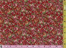 By the Yard Red Calico Taupe Rose Flower Jubilee 100% Cotton Material Fabric