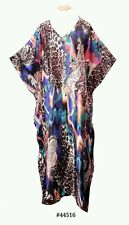 Ladies with Leopard/Tiger Print Satin Long Kaftan/holiday/beach dresses 10-32
