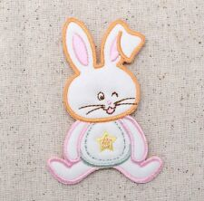 Iron On Embroidered Applique Patch Childrens Pastel Puffy Baby Bunny Rabbit