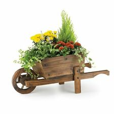 Wooden Stained Pine Ornamental Wheelbarrow Planter