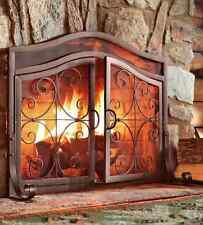 Fireplace Screen Doors Small Copper Firescreen Guard Wrought Iron Ornamental NEW