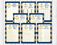 Nautical Gold Anchor Baby Shower Games Pack - 8 Printable Games