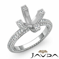 Diamond Wedding Ring 18k White Gold Vintage Style Pave Round Semi Mount 1.9Ct