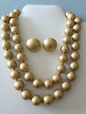 Vtg Crown Trifari Brushed Gold Tone Bead Multi Strand Necklace Clip Earrings Set