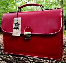 "15"" HAND MADE ITALIAN LEATHER BRIEFCASE SATCHEL LAPTOP OFFICE BAG RED MESSENGER"