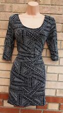 PRIMARK SILVER GLITTER METALLIC TRIBAL PARTY TUBE BODYCON RARE DRESS 14 L