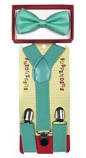 Teal colored toddler bow tie and  suspenders set - baby boy/girl Accesorries
