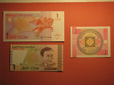3 Differ Kyrgyzstan Banknotes 1 Som 1993 1999 UNC Paper Money Currency Bill Note