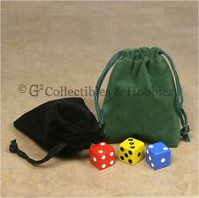 """NEW 2 Small Green & Black Dice Bags 3"""" x 4"""" Velveteen Cloth Bag Counter Pouch"""
