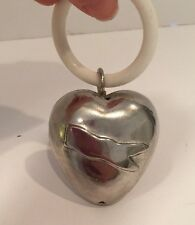 Vintage Silverplate Heart Shaped Baby Rattle Plastic Teething Ring No Monogram