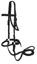 Braided Nylon Bitless Bridle with Knotted Reins - BLACK - New Horse Tack