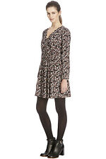 WAREHOUSE MULTI PRINT WRAP SLEEVED DRESS 12