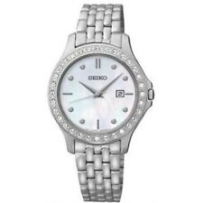 Seiko Women's Mother of Pearl Dial Swarovski Stainless Steel Date Watch SXDF87