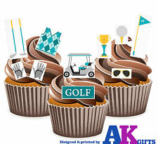 24 X Golf Blue Tee Clubs Balls Jumper EDIBLE CAKE TOPPERS EASY TO CUT AROUND