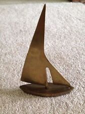 "VINTAGE SOLID BRASS FIGURINE SAIL BOAT 7"" Tall"