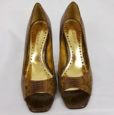 BROWN LEATHER SNAKE SKIN IMITATION OPEN TOE PUMPS BCBGIRLS HIGH HEELS SZ 7B