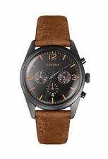 KAHUNA MEN'S BLACK DIAL BROWN STRAP CHRONOGRAPH WATCH WATCH - KCS0012G - RRP:£60