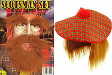 Tartan Hat Ginger Hair Wig & Beard & Eye Brow Tam O Shanter Scottish Fancy Dress