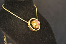 HEART in RING  PENDANT -  NECKLACE  Fashion Jewelry  NEW!  pink   U.S.A. SELLER!
