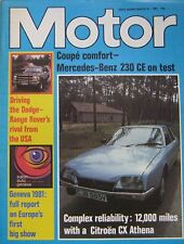 Motor magazine 14/3/1981 featuring Mercedes road test, Dodge Ramcharger,Citroen