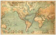 "The World Map Vintage Decor 36X24"" Fabric Poster 646"