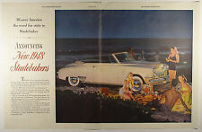 Vintage 1948 STUDEBAKER Automobile Two-Page Large Magazine Ad: BEACH SCENE