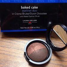NIB LAURA GELLER Baked Cake EYELINER DUO & Brush CREME BRULEE & DUTCH CHOCOLATE