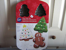 WILTON MINI CAKE PAN NON-STICK 6 cavities CHRISTMAN TREES AND GINGERBREAD NEW
