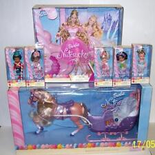Nutcracker Barbie & 5 Kelly Doll & Marzipan Candy Sleigh Horse NEW Mattel 2001