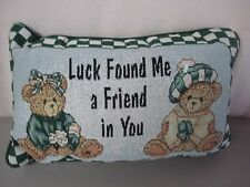 """USA Made NWOT Hillman Cherished Teddies 12.5"""" x 8.5"""" Tapestry Word Pillow #236"""