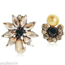 New Brown Green Crystal Pearl Ancient Gold Drop/Dangle Earring 2.6cm E1118