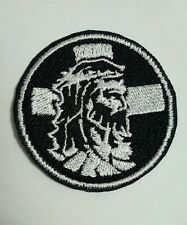 Jesus Embroidered Patch Witness Cross black and white Religious