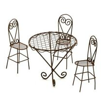 Miniature wire garden table and chairs use fairy garden,dollhouse, train sc ur