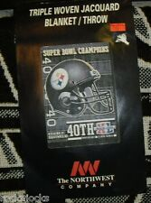 """Pittsburgh Steelers throw Super Bowl CHAMPIONS Blanket Measures 48"""" x 60"""" NEW!!"""