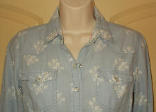 Western Blouse 6-8 Womens S Blue Shirt Pearl Snaps Floral Top Fun & Flirt 4m63