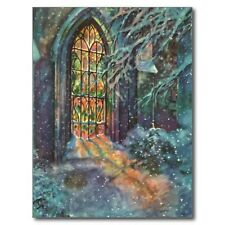 """*Postcard-Christmas-""""Stained Glass"""" ..@ Church (B-184)"""