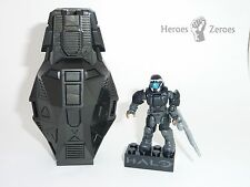 Halo Mega Bloks Set #CNJ43 Metallic Series 3 Black ODST w/ SAW Rifle & Drop Pod