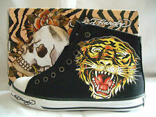 BRAND NEW ED HARDY MEN'S HIGH TOP CANVAS TRAINERS in Black UK Size 10
