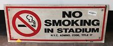 "Authentic MLB New York Yankee ""No Smoking"" 24"" x 10"" Sign with Paperwork"