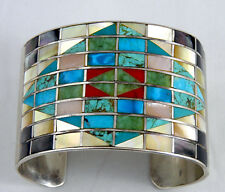 Dazzling Navajo Bracelet Channel Inlay w Coral Turquoise Superb Shells Sterling