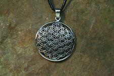 Anhänger  Blume des Lebens Silber plus Lederband Amulett  Sterlingsilber Magie