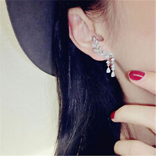New Women Fashion Lady Elegant Silver Leave Chain Artificial Crystal Earrings