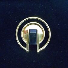 NEW SqB Brass-Tone Plated Black Plexi Accent Brooch from the Netherlands